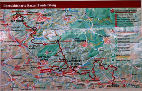 Übersichtskarte Harzer Baudenstieg
