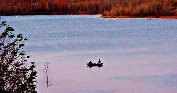 Fischer auf dem Geiseltalsee