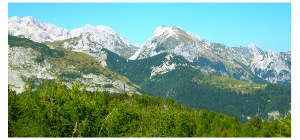 Blick auf den Triglav vom Prsivec